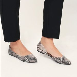 Shoes - Beige Brown Snake Ballerinas ballet- Sandals